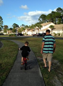 Caden learning to ride a bike - Nov 2015